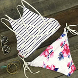 Reversible Floral Striped Print Halter Bikini Sets