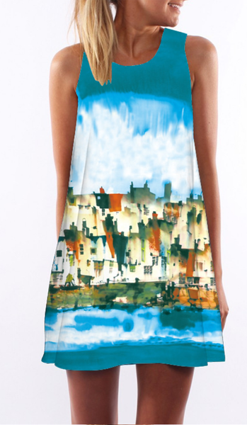 Blue Graphic Sleeveless Shift Dress