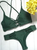 Green Lace Up Criss Cross Bikini Top and Bottom Bikini Set