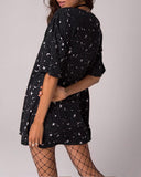 Black Casual Sun Moon And Star Print Tee