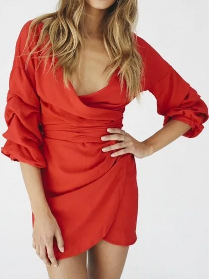 Red V-neck Wrap Front Tie Waist Puff Sleeve Mini Dress