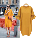 Pure Color Loose Plus Size Knee-length Dress