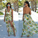 Beautiful Chiffon Floral Print Halter Split Beach Long Dress