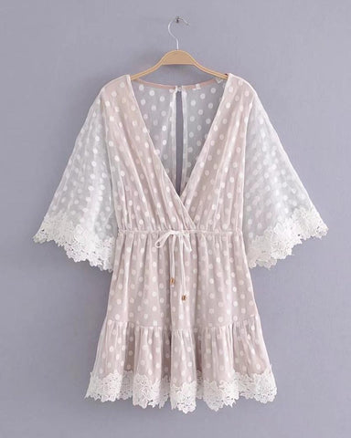 White Deep V Neck Lace Up Waist Lace Kimono