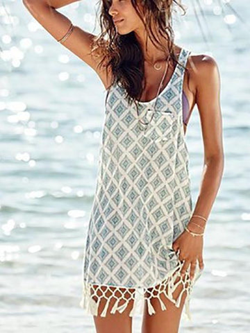 BohemiaTassel Digital Printing Strap Beach Vacation Dress