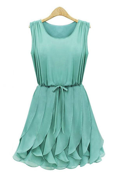 Everyday Sleeveless Withdraw Ruffled Skater Dress