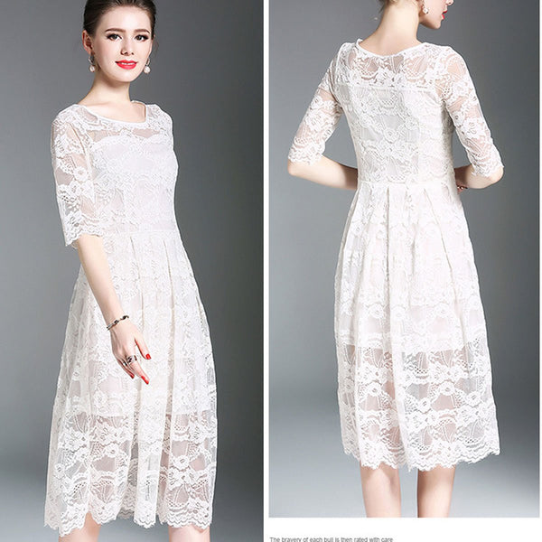 Pure Color Scoop Lace Slim Knee-length Dress