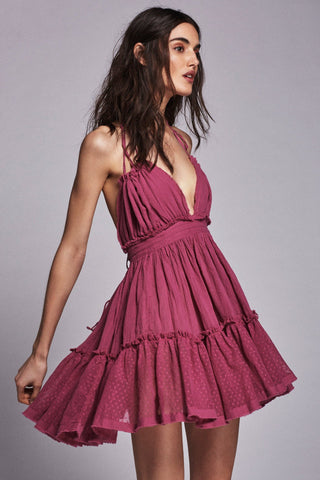 Fuschia Pleated Halter Backless Skater Dress