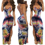 Spaghetti Straps Galaxy Print Bodycon Split Long Dress