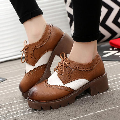 British Patchwork Round Toe Low Chunky Heels Short Boots