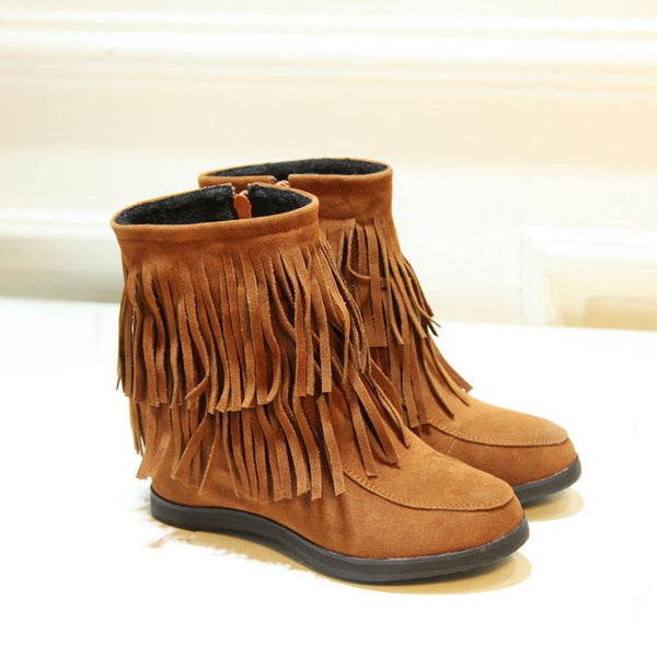 Sweet Leisure Increased Suede Tassel Short Wedge Boots