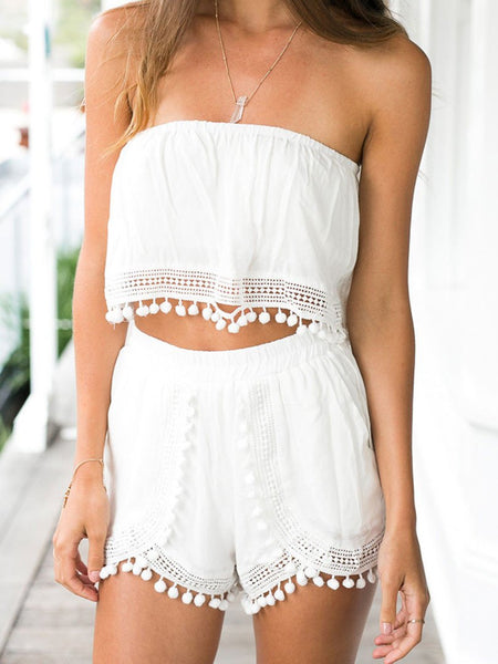 White Strapless Crochet Pom Pom Detail Cropped Two Piece Suit