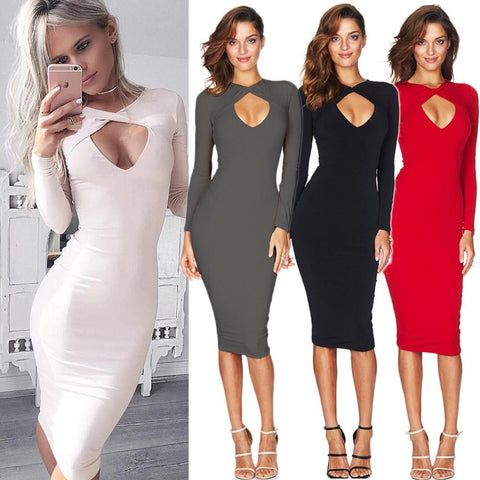 Cross Hollow Out Long Sleeve Knee Length Bodycon Dress