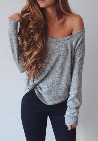 Loose V Neck Solid Color Long Sleeve Tee Shirt