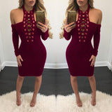 Pure Color Hollow Out Bodycon Knee-length Dress
