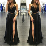 Pure Color Grenadine Crop Top with Split Long Skirt Two Pieces Dress Set