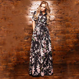 Print Chiffon Side Collar Princess Long Dress
