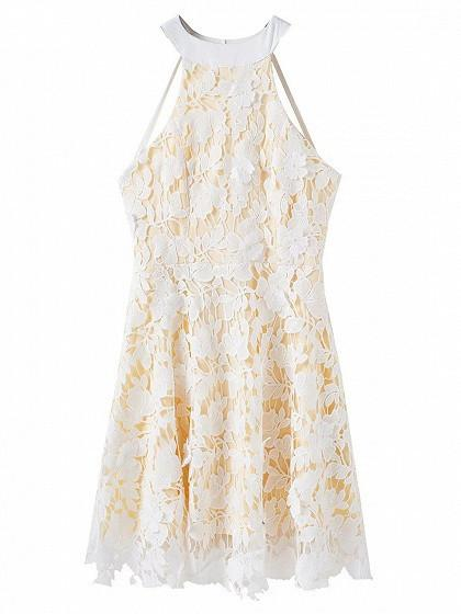 White Halter Backless Overlay Crochet Lace Mini Dress