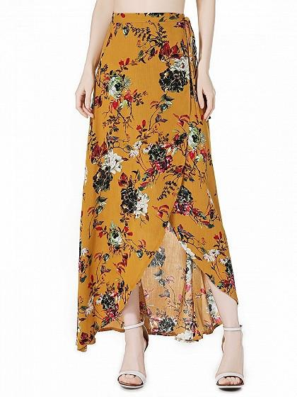 Yellow Floral High Waist Boho Tulip Maxi Skirt