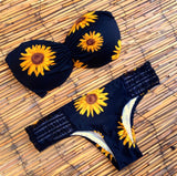 Sunflower Print Bandeau Bikini Sets