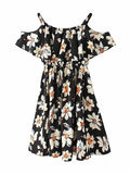 Polychrome Floral Cold Shoulder Ruffle Mini Dress