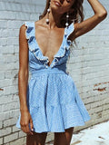 Blue Plunge Ruffle Strappy Back Skater Mini Dress