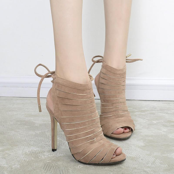 Ankle Strap Suede Stiletto Heel Peep-toe HIgh Sandals