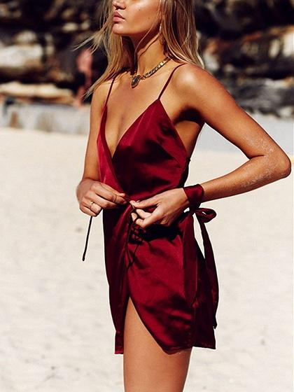Burgundy Satin Look V-neck Tie Side Spaghetti Strap Wrap Mini Dress