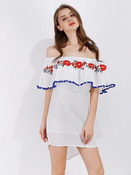 White Off Shoulder Embroidery Ruffle Prom Pom Dipped Hem Mini Dress
