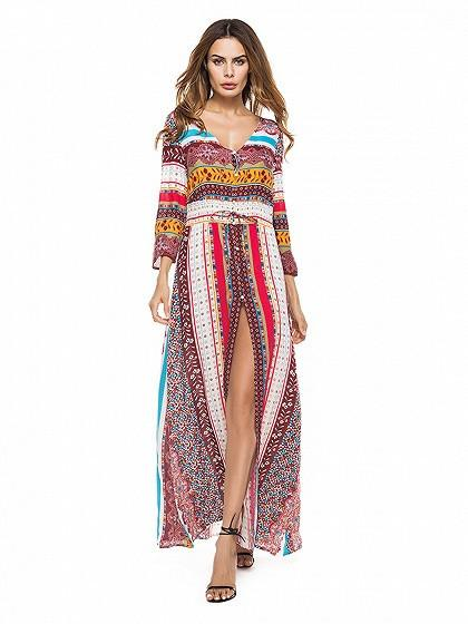Red V Neck 3/4 Sleeve Mixed Folk Print Split Maxi Dress