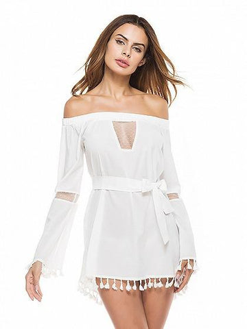 White Off Shoulder Mesh Panel Flared Sleeve Tassel Trim Mini Dress