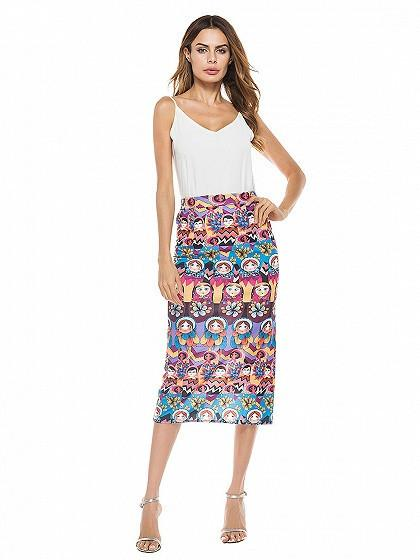 Polychrome High Waist Side Split Midi Skirt