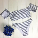 Neat Striped Off-the-shoulder Bandeau Bikini Sets