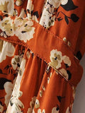 Polychrome Floral V-neck Tie Waist Long Sleeve Maxi Beach Dress