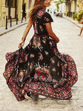 Multicolor V-neck Floral And Peacock Print Cap Sleeve Maxi Dress