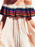 Pink Off Shoulder Stripe Ruffle Mini Dress