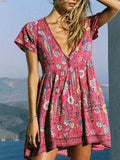 Polychrome Plunge V-neck Floral Short Sleeve Mini Dress