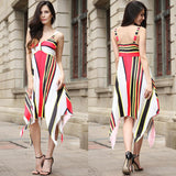 Striped Spaghetti Straps V-neck Knee-length Dress