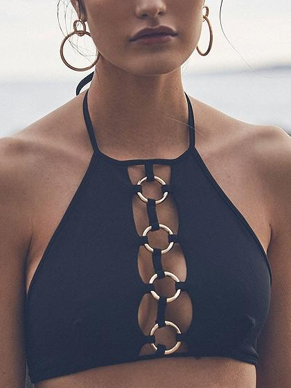 Polychrome Halter Grommet Cut Out Front Co-ord Bikini Top