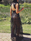 Black Plunge Sheer Lace Frill Open Back Sleeveless Maxi Dress