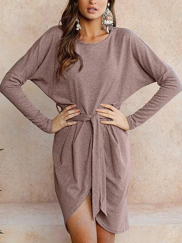 Light Tan Wrap Tie Waist Asymmetric Hem Long Sleeve Dress