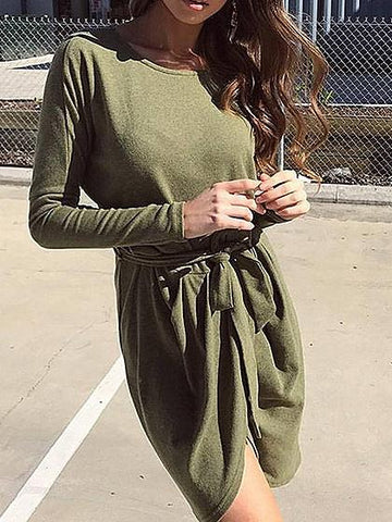 Army Green Wrap Tie Waist Asymmetric Hem Long Sleeve Dress
