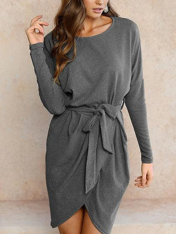 Gray Wrap Tie Waist Asymmetric Hem Long Sleeve Dress