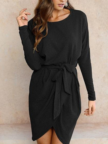Black Wrap Tie Waist Asymmetric Hem Long Sleeve Dress