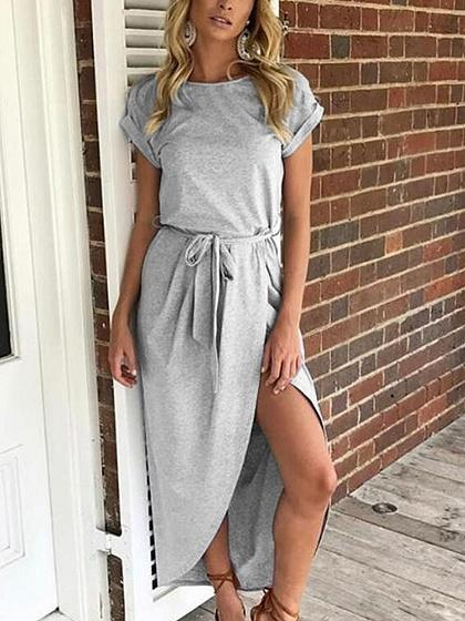 Gray Tie Waist Short Sleeve Maxi Wrap Dress