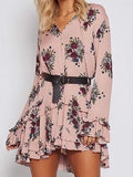 Pink V-neck Tie Front Floral Flare Sleeve Ruffle Hem Mini Dress