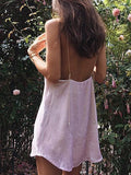 Pink V Neck Velvet Slip Cami Dress