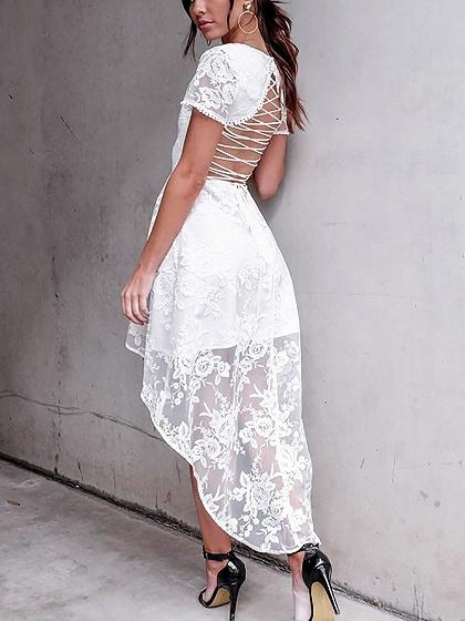 White V Neck Strappy Back Hi Lo Hem Short Sleeve Lace Dress