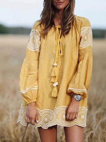 Yellow Folk Embroidery Tassel Tie Long Sleeve Dress