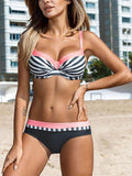 Color Block Contrast Stripe Bikini Top and Bottom Bikini Set